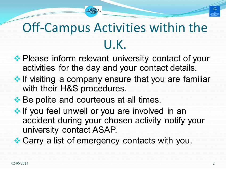 Off-Campus Activities within the U.K.