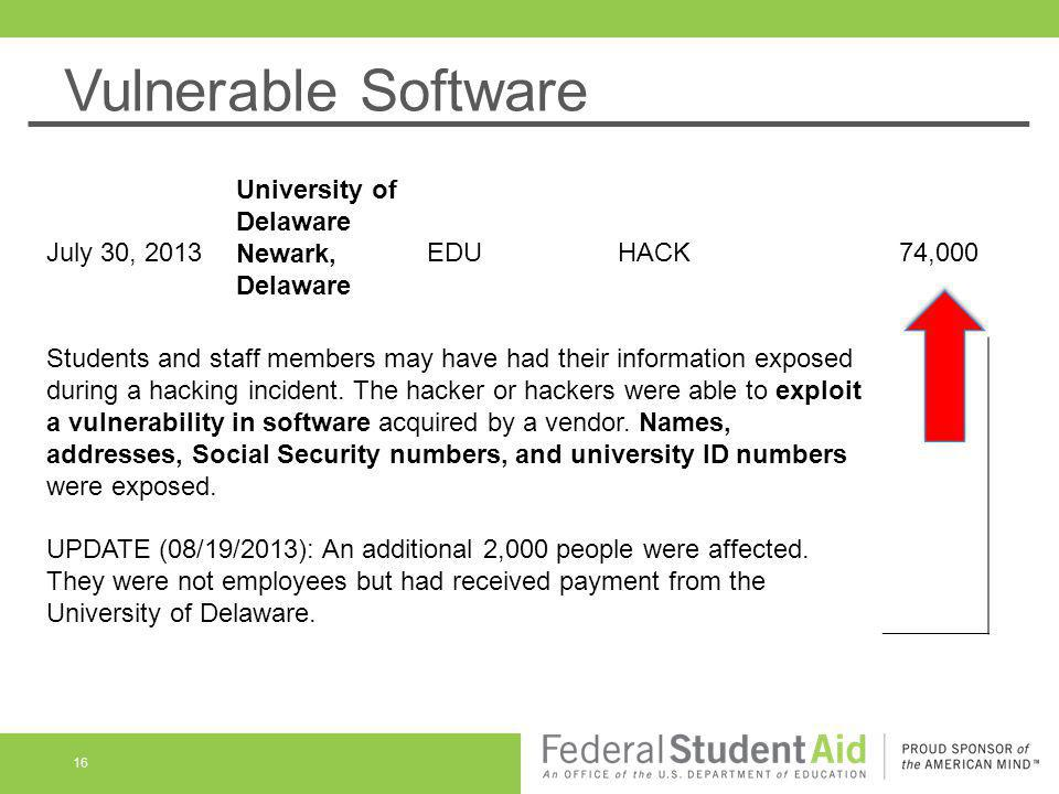 Vulnerable Software 16 July 30, 2013 University of Delaware Newark, Delaware EDUHACK74,000 Students and staff members may have had their information e