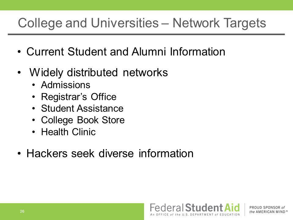College and Universities – Network Targets 26 Current Student and Alumni Information Widely distributed networks Admissions Registrars Office Student