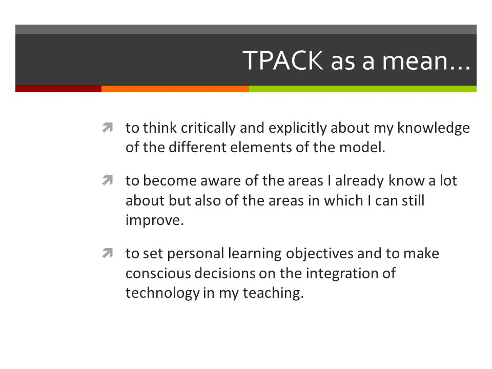 TPACK as a mean...