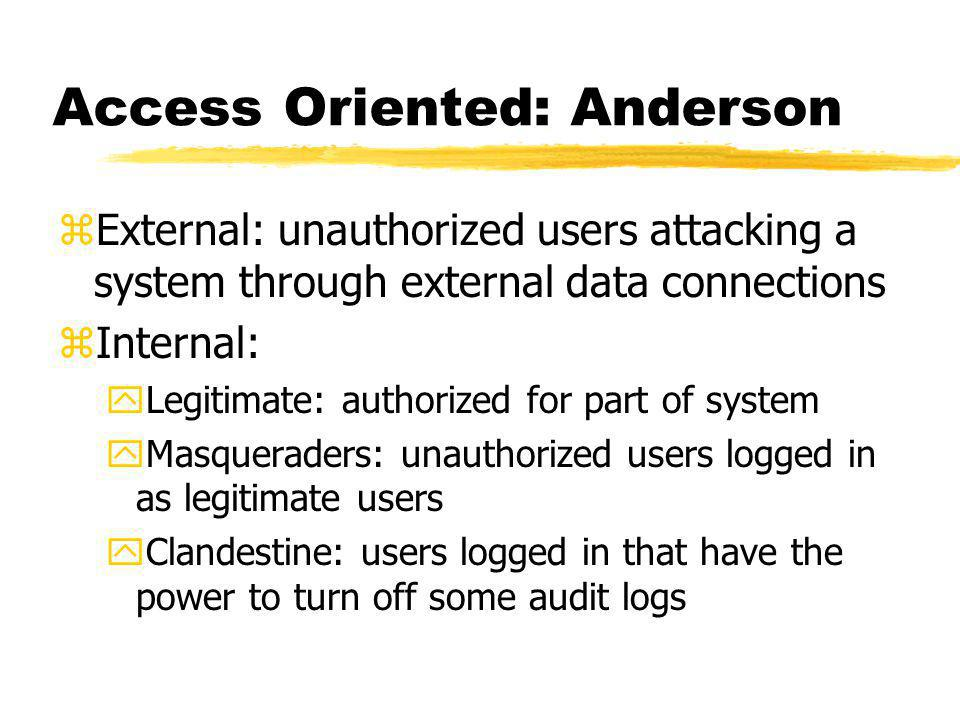 Access Oriented: Anderson zExternal: unauthorized users attacking a system through external data connections zInternal: yLegitimate: authorized for part of system yMasqueraders: unauthorized users logged in as legitimate users yClandestine: users logged in that have the power to turn off some audit logs