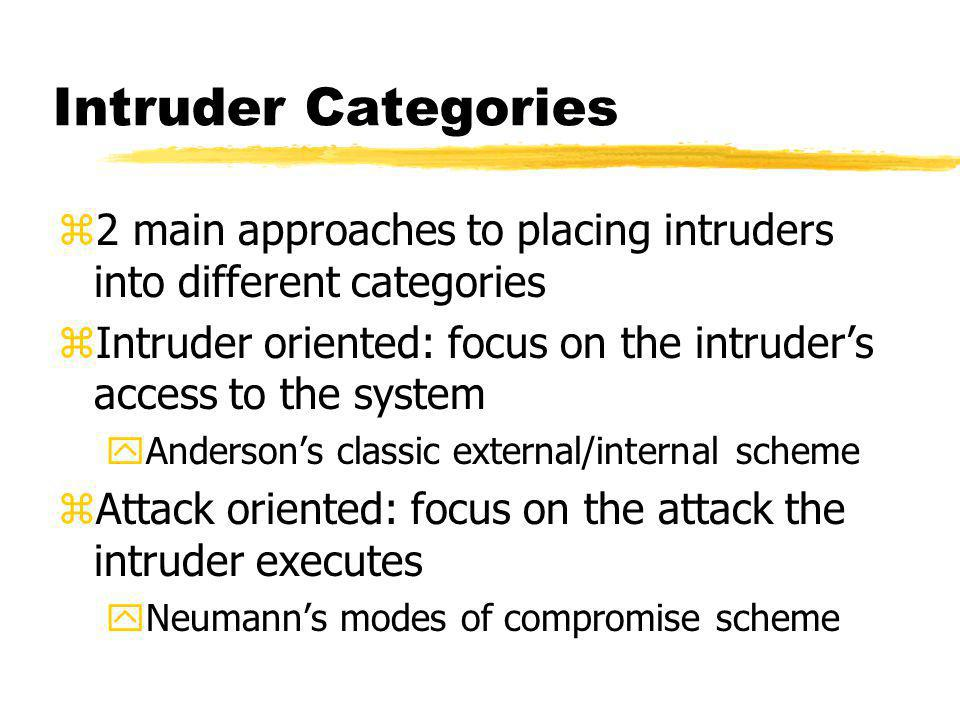 Intruder Categories z2 main approaches to placing intruders into different categories zIntruder oriented: focus on the intruders access to the system yAndersons classic external/internal scheme zAttack oriented: focus on the attack the intruder executes yNeumanns modes of compromise scheme