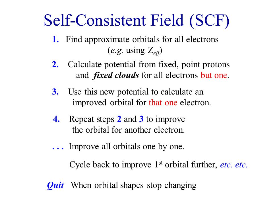 Self-Consistent Field (SCF) 1. Find approximate orbitals for all electrons (e.g.