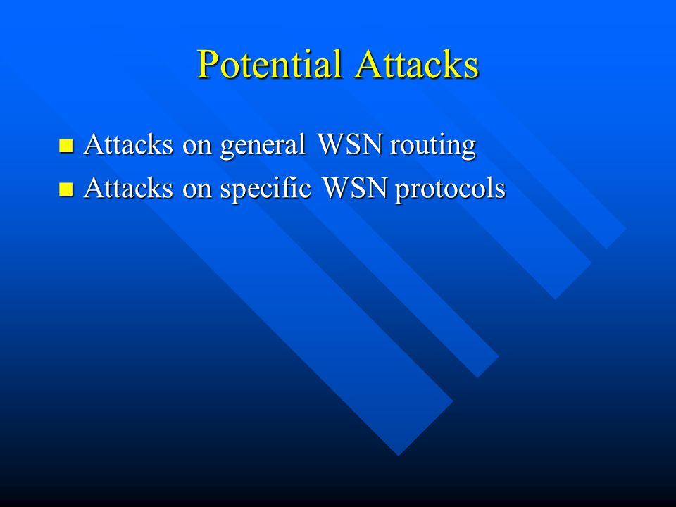 Potential Attacks Attacks on general WSN routing Attacks on general WSN routing Attacks on specific WSN protocols Attacks on specific WSN protocols
