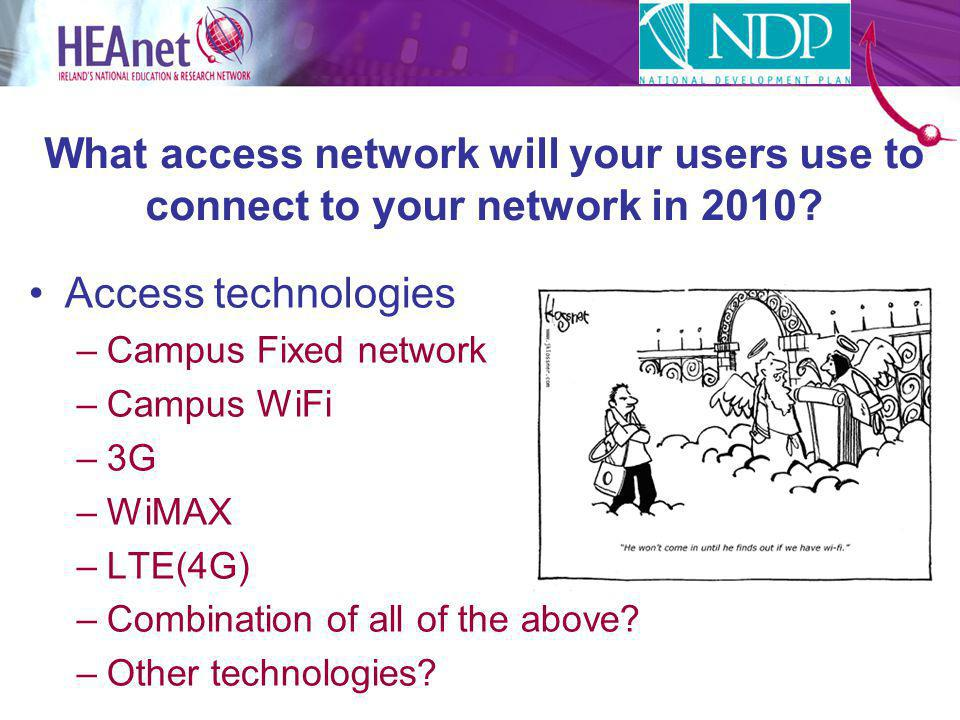 What access network will your users use to connect to your network in 2010.