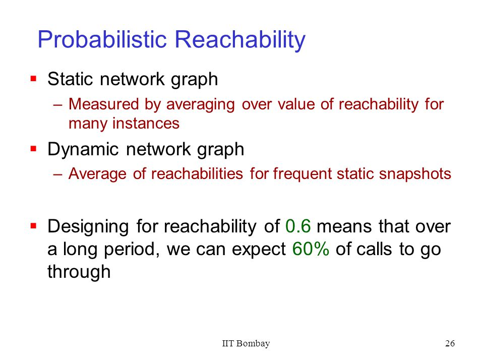 IIT Bombay26 Probabilistic Reachability Static network graph –Measured by averaging over value of reachability for many instances Dynamic network grap