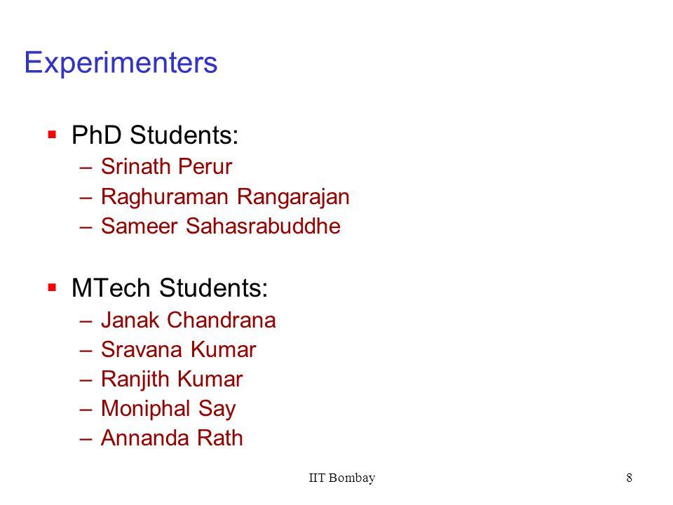 IIT Bombay8 Experimenters PhD Students: –Srinath Perur –Raghuraman Rangarajan –Sameer Sahasrabuddhe MTech Students: –Janak Chandrana –Sravana Kumar –R