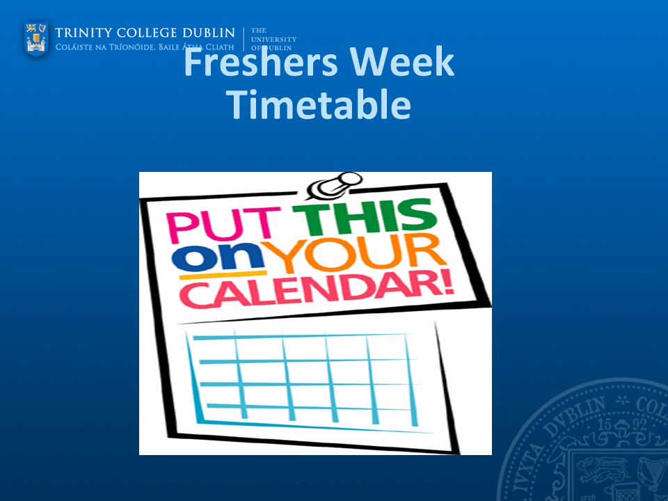 Freshers Week Timetable