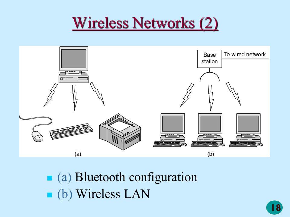 18 Wireless Networks (2) (a) Bluetooth configuration (b) Wireless LAN