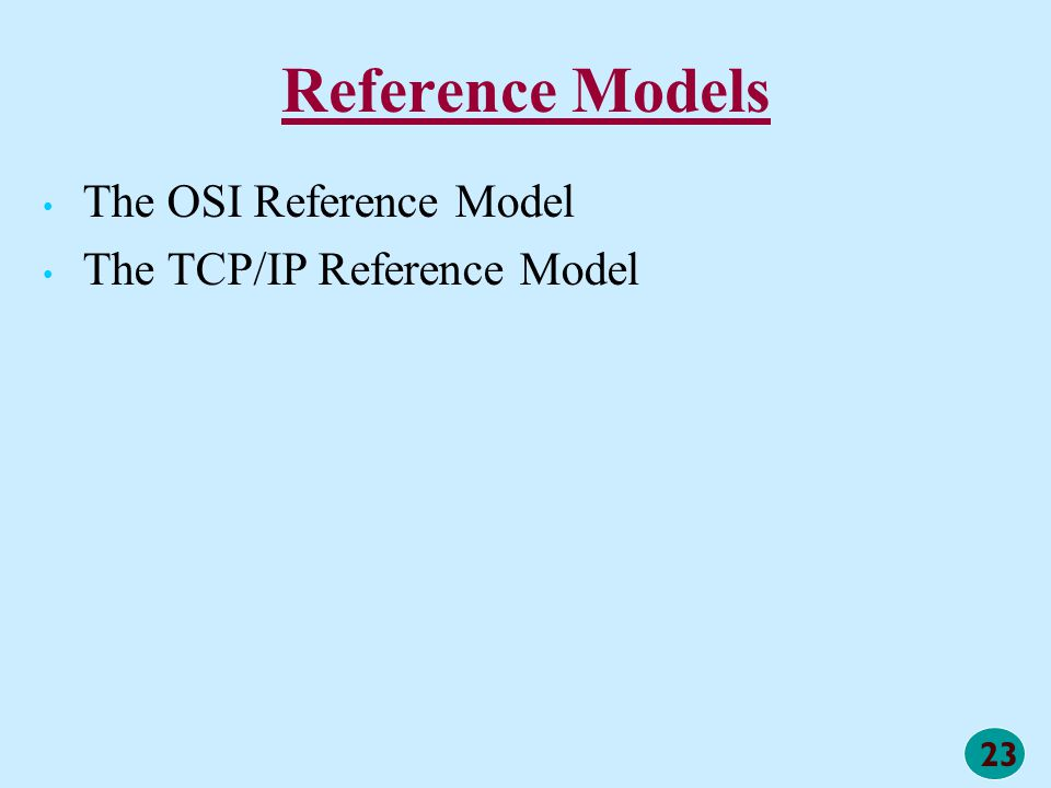23 Reference Models The OSI Reference Model The TCP/IP Reference Model