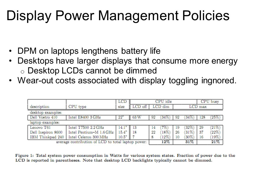 Display Power Management Policies DPM on laptops lengthens battery life Desktops have larger displays that consume more energy o Desktop LCDs cannot be dimmed Wear-out costs associated with display toggling ingnored.