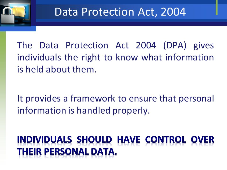 Data Protection Act, 2004