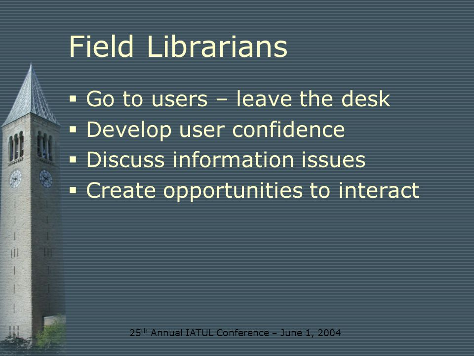 25 th Annual IATUL Conference – June 1, 2004 Alexander Graham Bell A library that is not accessible out of business hours is of as little value as gold horded in a vault and withdrawn from circulation (letter to Mabel Hubbard Bell 17 November 1896)
