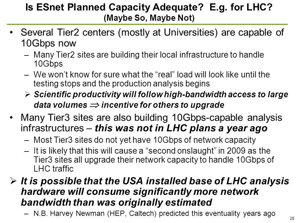 28 Is ESnet Planned Capacity Adequate. E.g. for LHC.