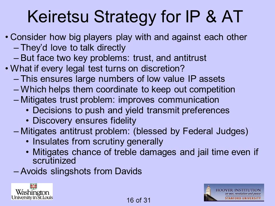 16 of 31 Keiretsu Strategy for IP & AT Consider how big players play with and against each other –Theyd love to talk directly –But face two key proble
