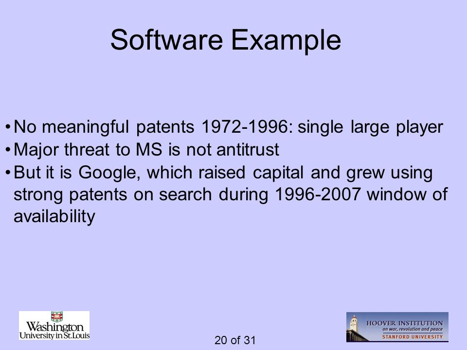 20 of 31 Software Example No meaningful patents 1972-1996: single large player Major threat to MS is not antitrust But it is Google, which raised capi