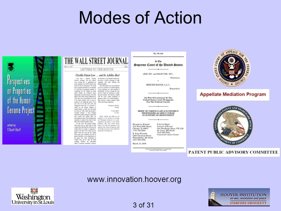 3 of 31 Modes of Action www.innovation.hoover.org