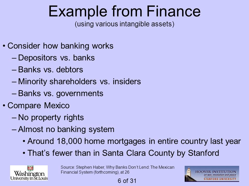 6 of 31 Example from Finance (using various intangible assets) Consider how banking works –Depositors vs.