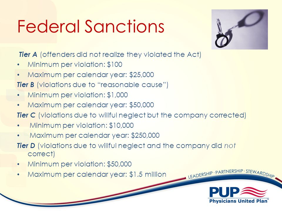 Federal Sanctions Tier A (offenders did not realize they violated the Act) Minimum per violation: $100 Maximum per calendar year: $25,000 Tier B (violations due to reasonable cause) Minimum per violation: $1,000 Maximum per calendar year: $50,000 Tier C (violations due to willful neglect but the company corrected) Minimum per violation: $10,000 Maximum per calendar year: $250,000 Tier D (violations due to willful neglect and the company did not correct) Minimum per violation: $50,000 Maximum per calendar year: $1.5 million