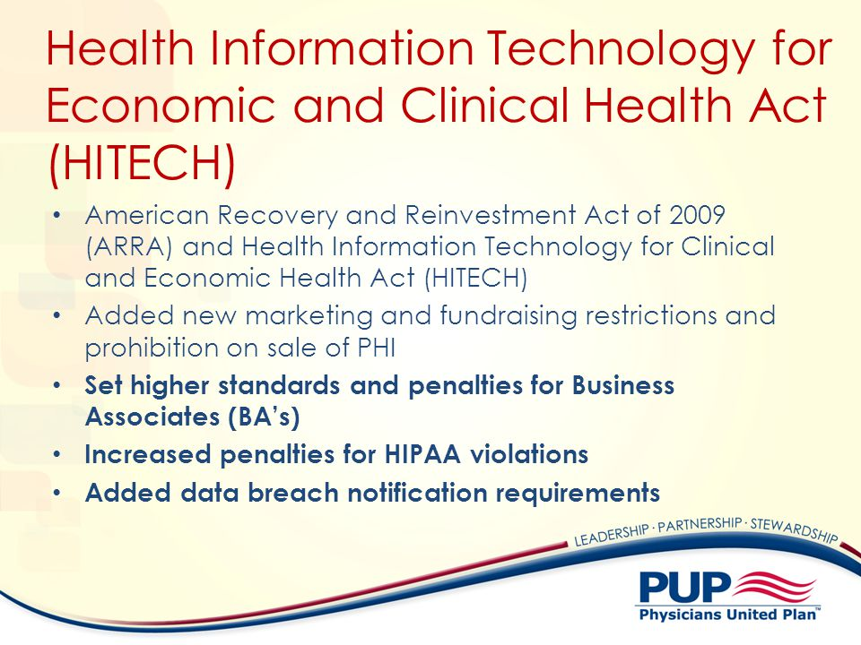 Health Information Technology for Economic and Clinical Health Act (HITECH) American Recovery and Reinvestment Act of 2009 (ARRA) and Health Informati