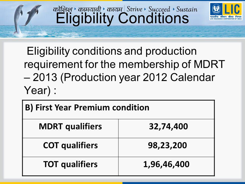 Eligibility Conditions Eligibility conditions and production requirement for the membership of MDRT – 2013 (Production year 2012 Calendar Year) : B) First Year Premium condition MDRT qualifiers 32,74,400 COT qualifiers 98,23,200 TOT qualifiers1,96,46,400