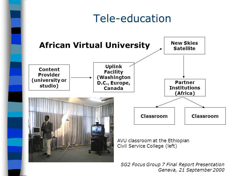 SG2 Focus Group 7 Final Report Presentation Geneva, 21 September 2000 African Virtual University Tele-education AVU classroom at the Ethiopian Civil Service College (left) New Skies Satellite Uplink Facility (Washington D.C., Europe, Canada Content Provider (university or studio) Partner Institutions (Africa) Classroom