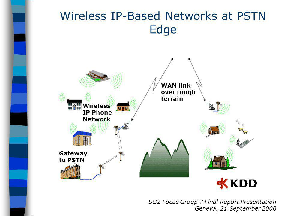 SG2 Focus Group 7 Final Report Presentation Geneva, 21 September 2000 Gateway to PSTN Wireless IP Phone Network WAN link over rough terrain Wireless IP-Based Networks at PSTN Edge