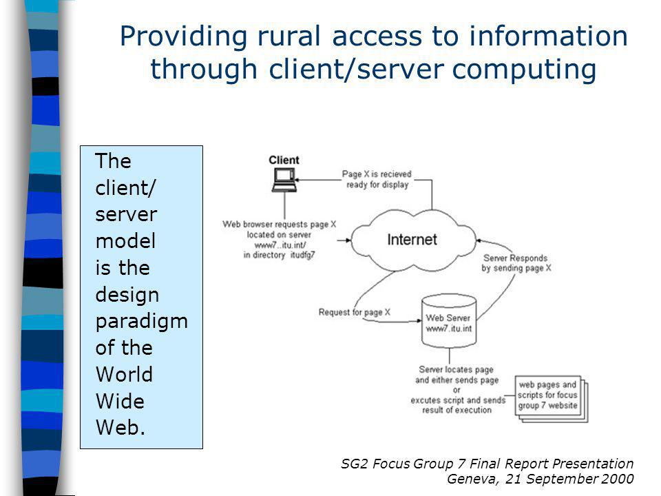 SG2 Focus Group 7 Final Report Presentation Geneva, 21 September 2000 The client/ server model is the design paradigm of the World Wide Web.
