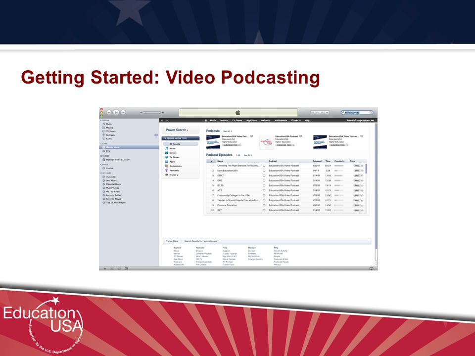 Your Official Source on U.S. Higher Education Getting Started: Video Podcasting