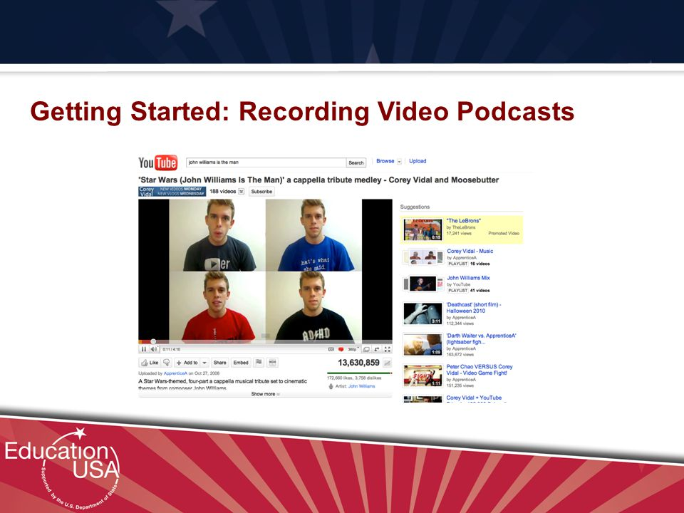 Your Official Source on U.S. Higher Education Getting Started: Recording Video Podcasts