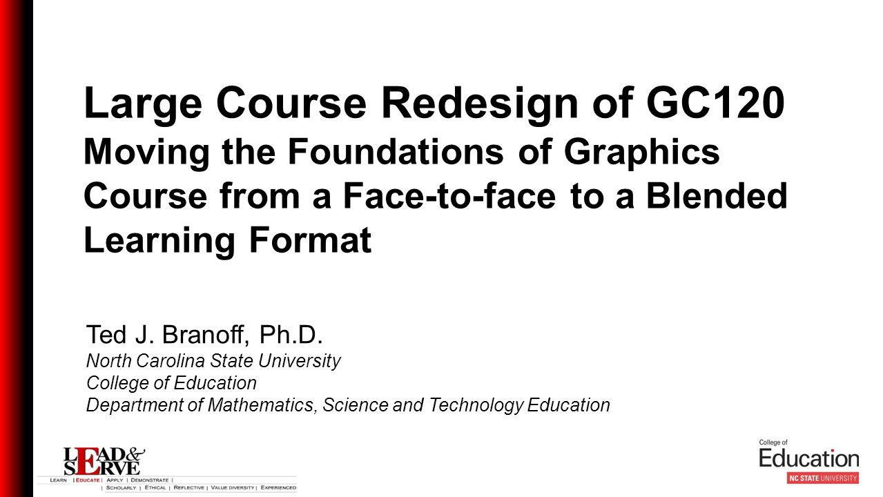 Ted J. Branoff, Ph.D. North Carolina State University College of Education Department of Mathematics, Science and Technology Education Large Course Re