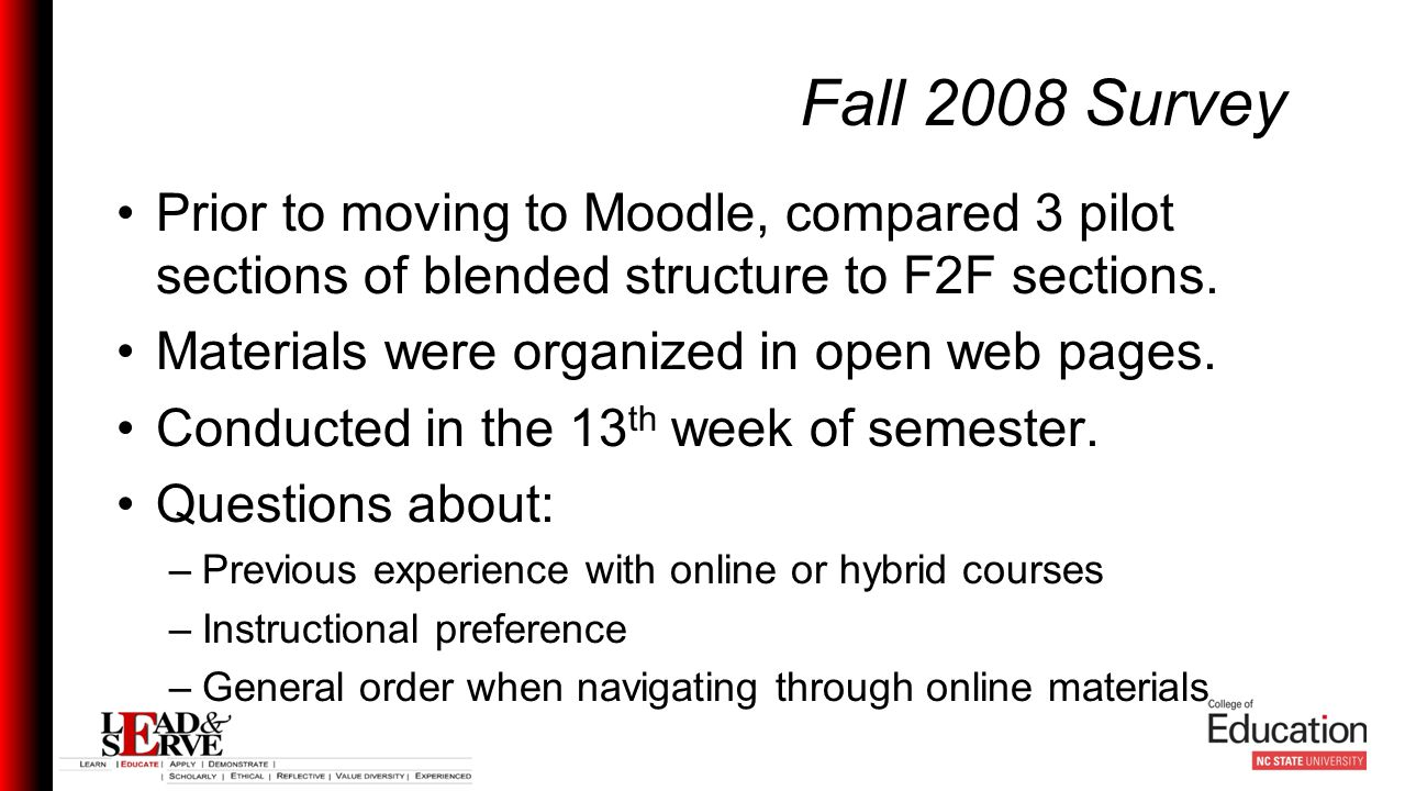 Fall 2008 Survey Prior to moving to Moodle, compared 3 pilot sections of blended structure to F2F sections.