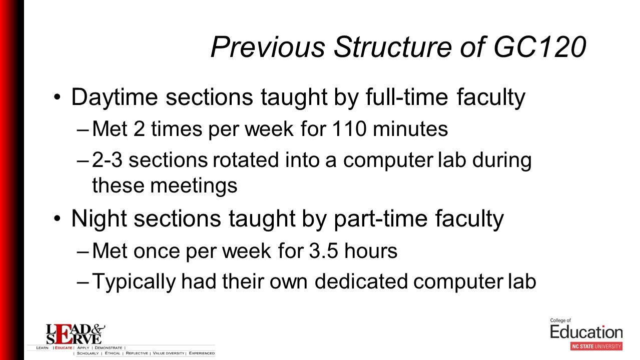 Previous Structure of GC120 Daytime sections taught by full-time faculty –Met 2 times per week for 110 minutes –2-3 sections rotated into a computer lab during these meetings Night sections taught by part-time faculty –Met once per week for 3.5 hours –Typically had their own dedicated computer lab