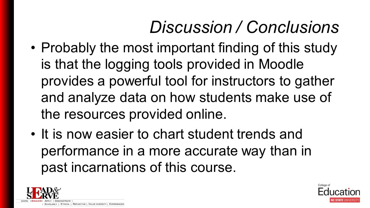 Discussion / Conclusions Probably the most important finding of this study is that the logging tools provided in Moodle provides a powerful tool for instructors to gather and analyze data on how students make use of the resources provided online.