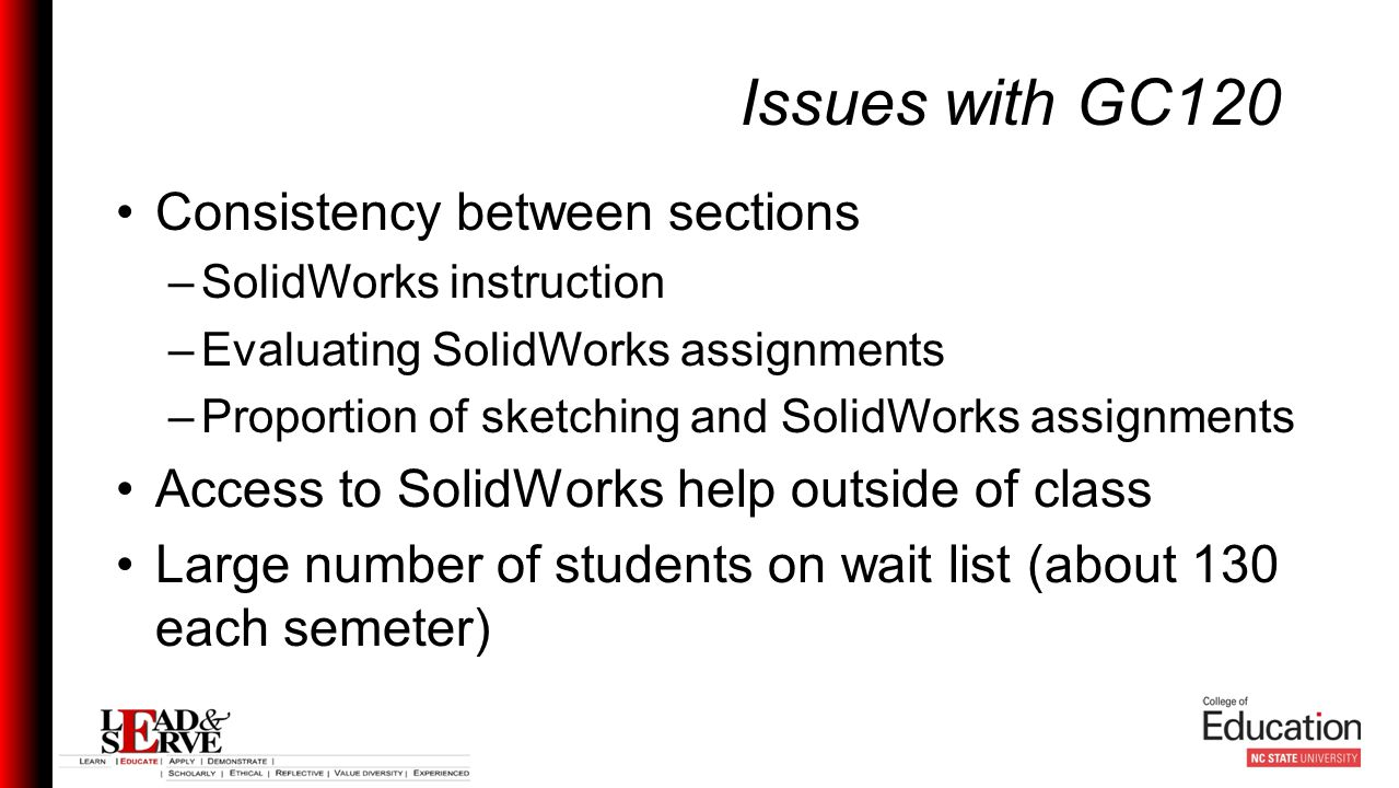 Issues with GC120 Consistency between sections –SolidWorks instruction –Evaluating SolidWorks assignments –Proportion of sketching and SolidWorks assignments Access to SolidWorks help outside of class Large number of students on wait list (about 130 each semeter)
