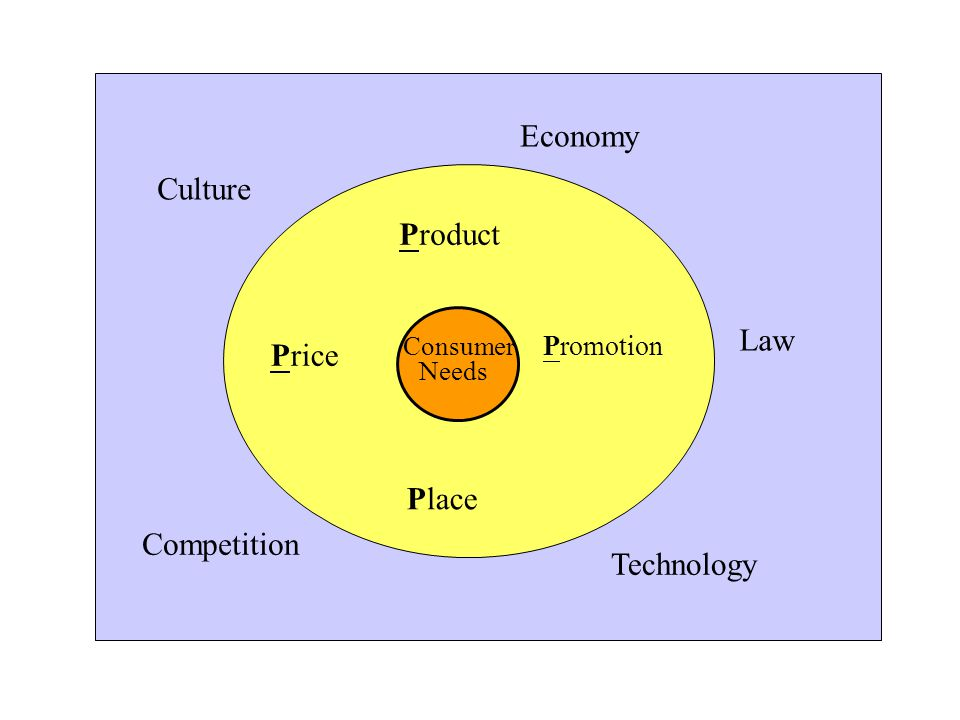 Economy Culture Law Competition Technology Product Price Promotion Place Consumer Needs