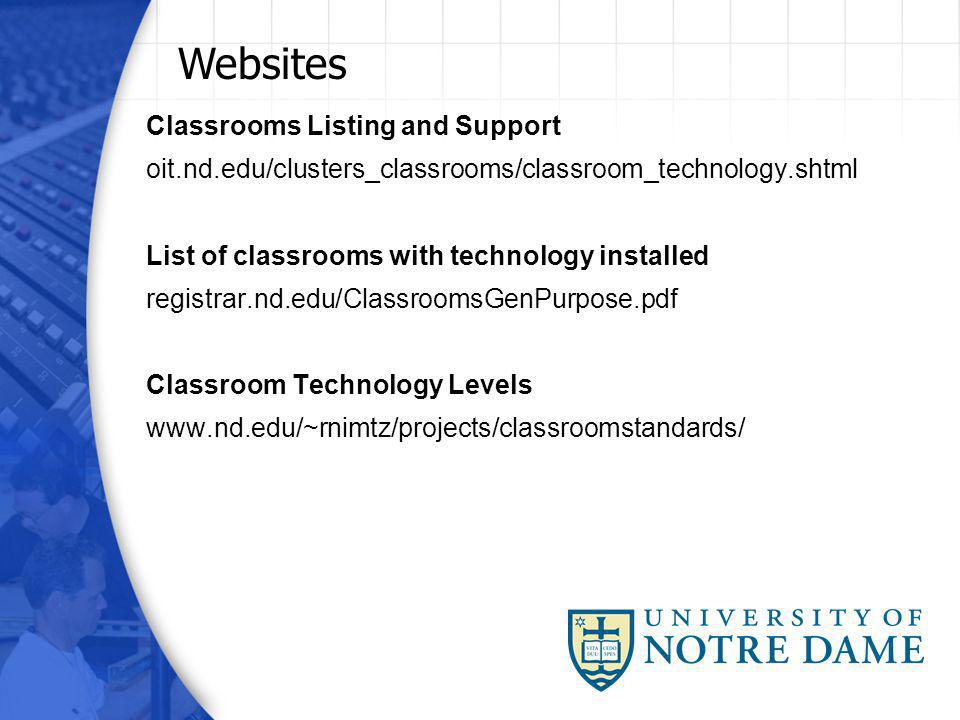 Classrooms Listing and Support oit.nd.edu/clusters_classrooms/classroom_technology.shtml List of classrooms with technology installed registrar.nd.edu