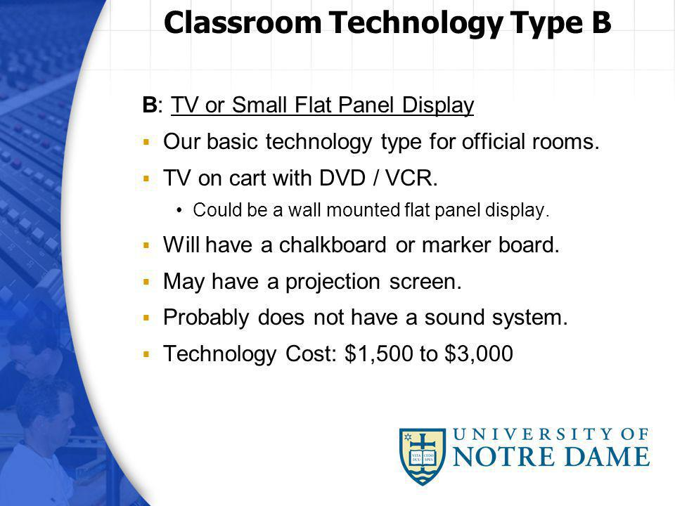 B: TV or Small Flat Panel Display Our basic technology type for official rooms. TV on cart with DVD / VCR. Could be a wall mounted flat panel display.