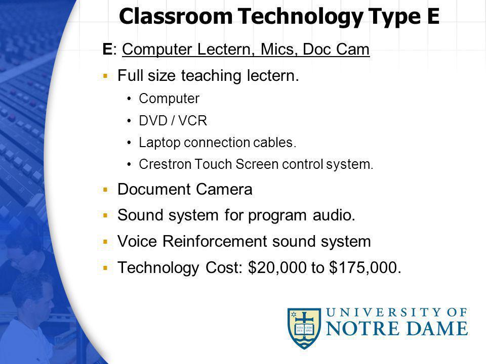 E: Computer Lectern, Mics, Doc Cam Full size teaching lectern.
