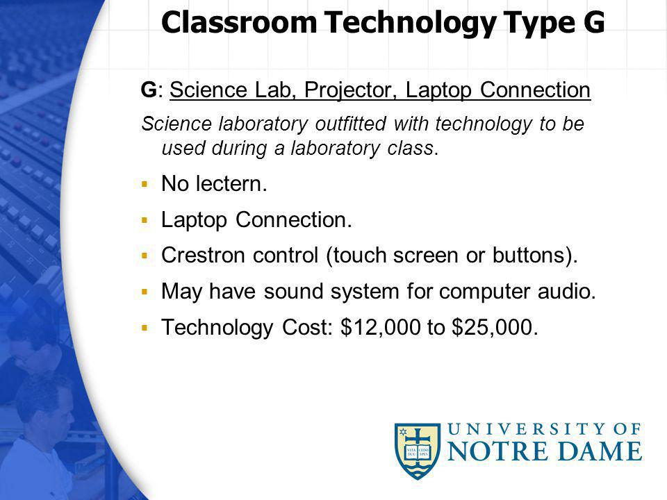 G: Science Lab, Projector, Laptop Connection Science laboratory outfitted with technology to be used during a laboratory class.