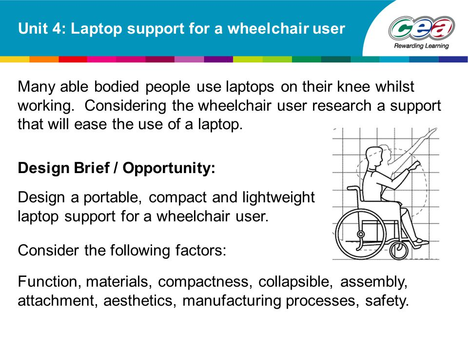 Unit 4: Laptop support for a wheelchair user Many able bodied people use laptops on their knee whilst working. Considering the wheelchair user researc