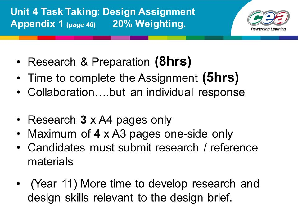 Research & Preparation (8hrs) Time to complete the Assignment (5hrs) Collaboration….but an individual response Research 3 x A4 pages only Maximum of 4