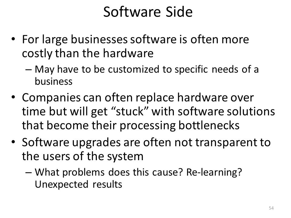 Software Side For large businesses software is often more costly than the hardware – May have to be customized to specific needs of a business Compani