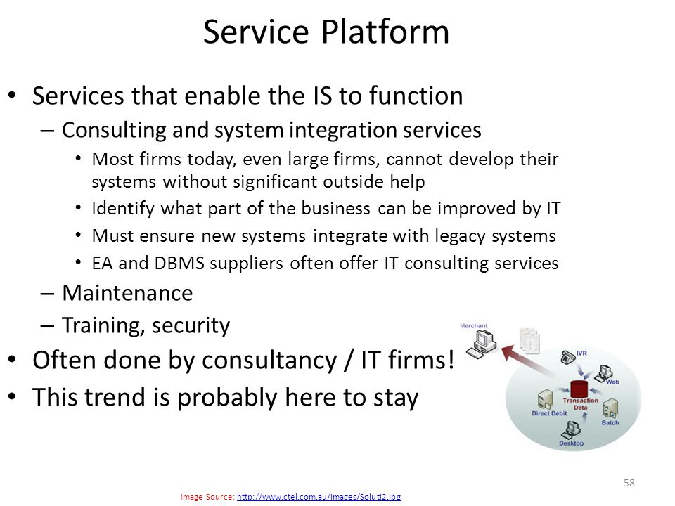 Services that enable the IS to function – Consulting and system integration services Most firms today, even large firms, cannot develop their systems
