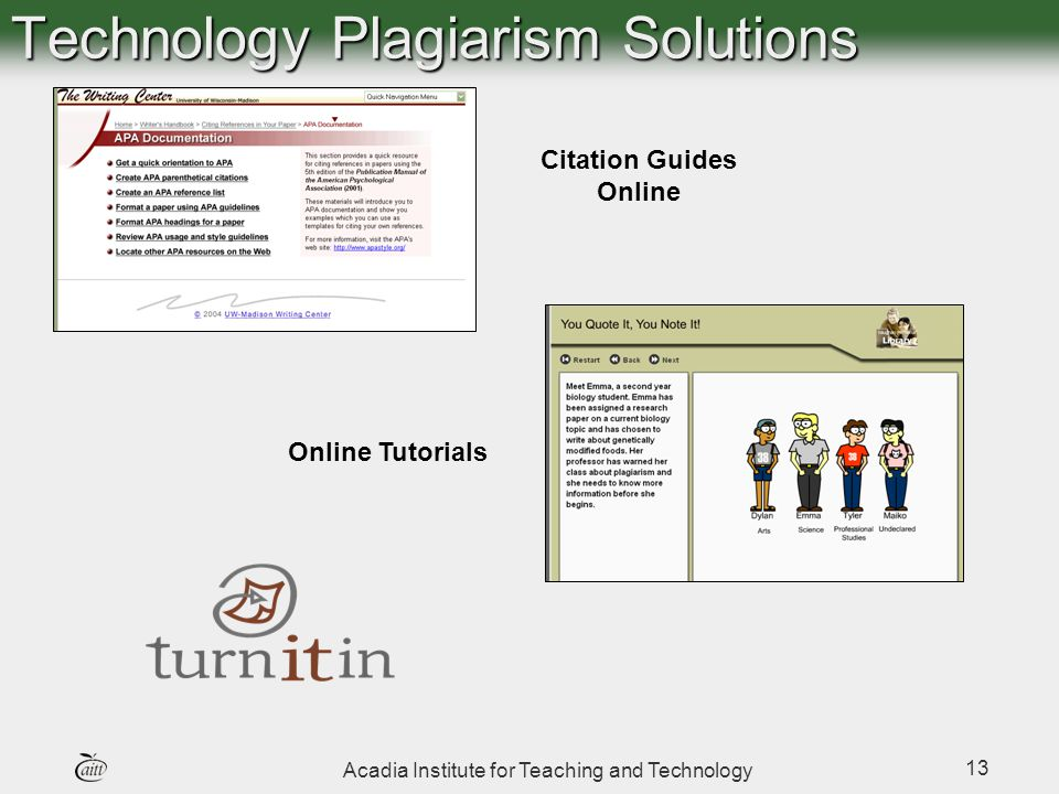 Acadia Institute for Teaching and Technology 13 Citation Guides Online Online Tutorials Technology Plagiarism Solutions