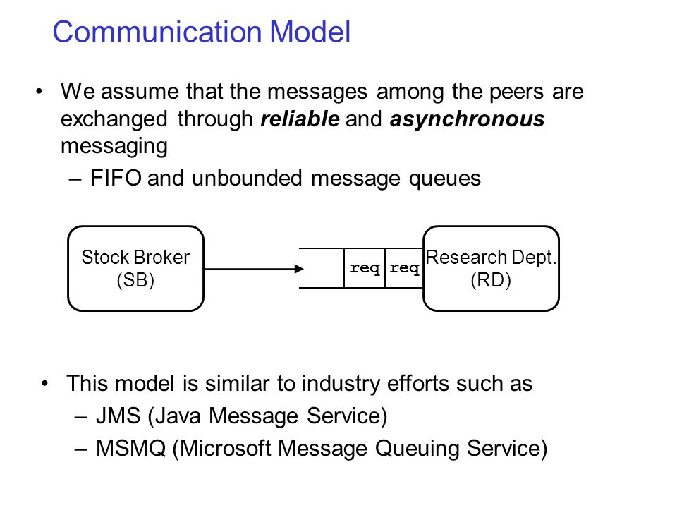 Communication Model We assume that the messages among the peers are exchanged through reliable and asynchronous messaging –FIFO and unbounded message queues This model is similar to industry efforts such as –JMS (Java Message Service) –MSMQ (Microsoft Message Queuing Service) req Stock Broker (SB) Research Dept.