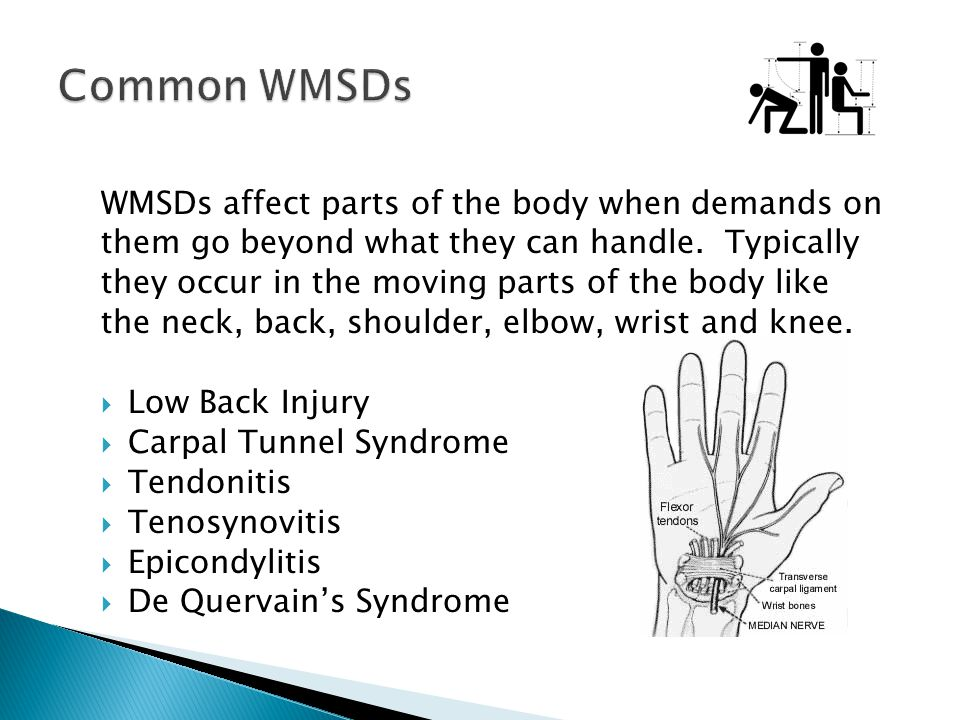 WMSDs affect parts of the body when demands on them go beyond what they can handle. Typically they occur in the moving parts of the body like the neck
