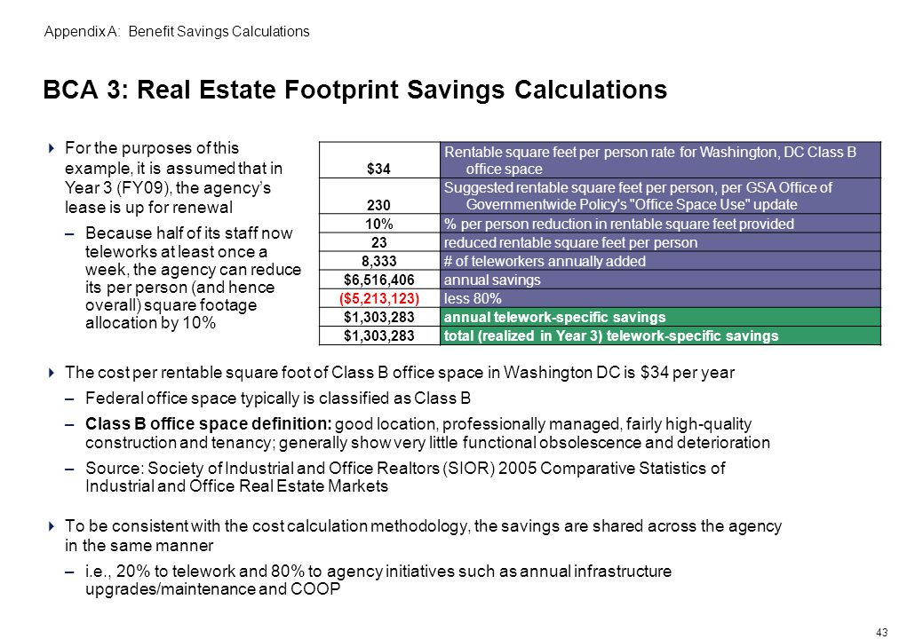 43 BCA 3: Real Estate Footprint Savings Calculations Appendix A: Benefit Savings Calculations The cost per rentable square foot of Class B office space in Washington DC is $34 per year –Federal office space typically is classified as Class B –Class B office space definition: good location, professionally managed, fairly high-quality construction and tenancy; generally show very little functional obsolescence and deterioration –Source: Society of Industrial and Office Realtors (SIOR) 2005 Comparative Statistics of Industrial and Office Real Estate Markets To be consistent with the cost calculation methodology, the savings are shared across the agency in the same manner –i.e., 20% to telework and 80% to agency initiatives such as annual infrastructure upgrades/maintenance and COOP For the purposes of this example, it is assumed that in Year 3 (FY09), the agencys lease is up for renewal –Because half of its staff now teleworks at least once a week, the agency can reduce its per person (and hence overall) square footage allocation by 10% $34 Rentable square feet per person rate for Washington, DC Class B office space 230 Suggested rentable square feet per person, per GSA Office of Governmentwide Policy s Office Space Use update 10% per person reduction in rentable square feet provided 23reduced rentable square feet per person 8,333# of teleworkers annually added $6,516,406annual savings ($5,213,123)less 80% $1,303,283annual telework-specific savings $1,303,283total (realized in Year 3) telework-specific savings