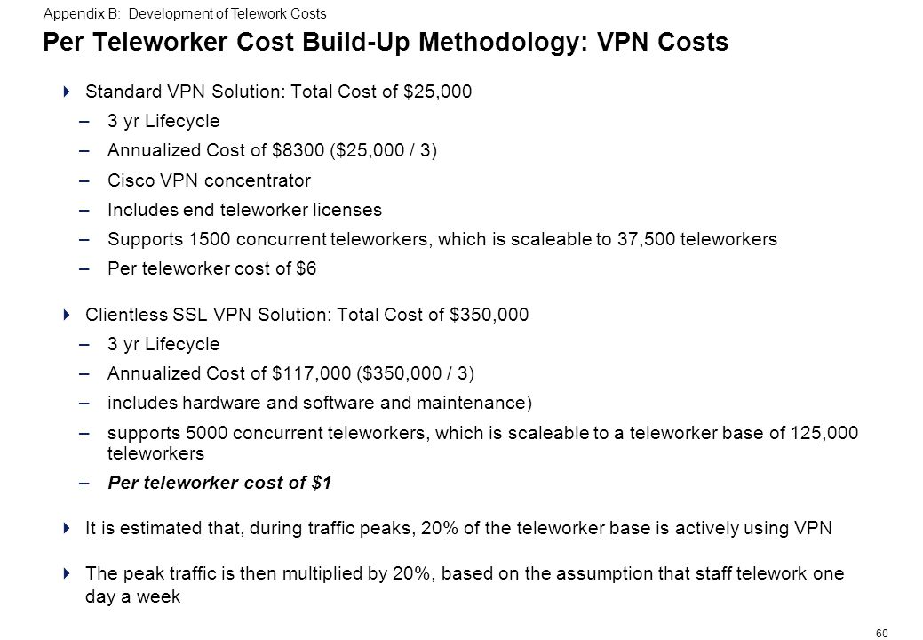 60 Per Teleworker Cost Build-Up Methodology: VPN Costs Standard VPN Solution: Total Cost of $25,000 –3 yr Lifecycle –Annualized Cost of $8300 ($25,000 / 3) –Cisco VPN concentrator –Includes end teleworker licenses –Supports 1500 concurrent teleworkers, which is scaleable to 37,500 teleworkers –Per teleworker cost of $6 Clientless SSL VPN Solution: Total Cost of $350,000 –3 yr Lifecycle –Annualized Cost of $117,000 ($350,000 / 3) –includes hardware and software and maintenance) –supports 5000 concurrent teleworkers, which is scaleable to a teleworker base of 125,000 teleworkers –Per teleworker cost of $1 It is estimated that, during traffic peaks, 20% of the teleworker base is actively using VPN The peak traffic is then multiplied by 20%, based on the assumption that staff telework one day a week Appendix B: Development of Telework Costs
