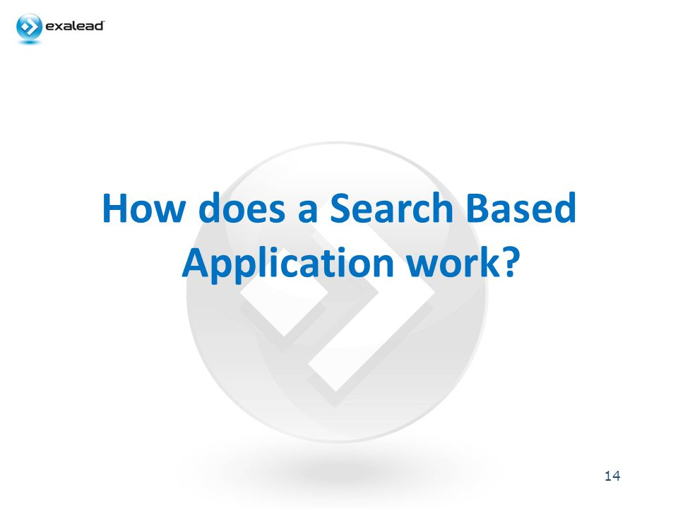 How does a Search Based Application work? 14